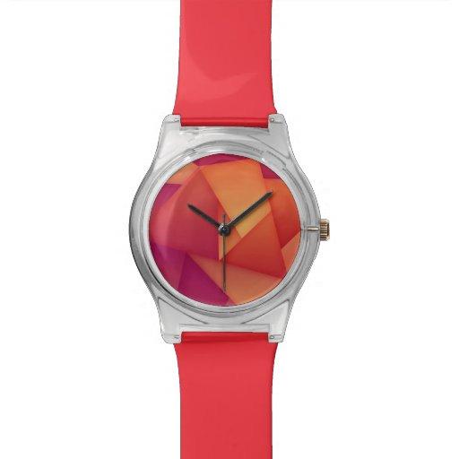 Orange u. lila Polygon kundenspezifische RetroFlat Handuhr