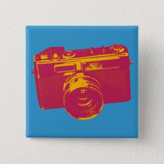 Orange u. rote Pop-Kunst-Kamera Quadratischer Button 5,1 Cm