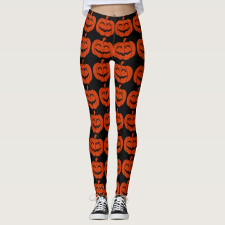 Orange u. schwarze glückliche Kürbis-Gamaschen Leggings