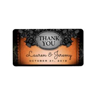 Orange u. schwarze Halloween-Hochzeit danken Ihnen Adressaufkleber