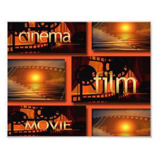 Orange u. schwarze Kino-Film-Film-Collage Fotodruck