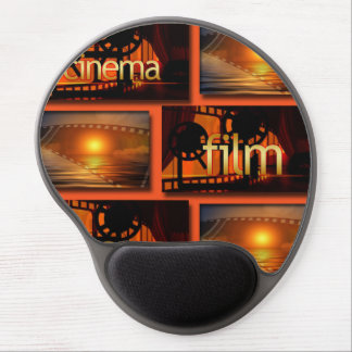 Orange u. schwarze Kino-Film-Film-Collage Gel Mousepad