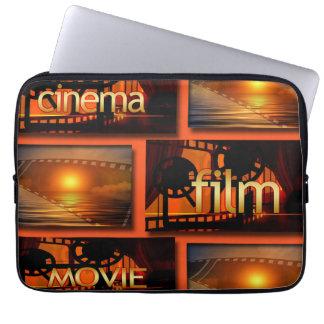 Orange u. schwarze Kino-Film-Film-Collage Laptopschutzhülle