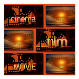 Orange u. schwarze Kino-Film-Film-Collage Poster