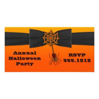 Orange u. schwarzes Bling Spinnen-Netz Fotokartenvorlage