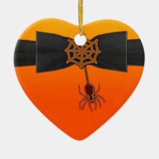 Orange u. schwarzes Bling Spinnen-Netz Keramik Ornament