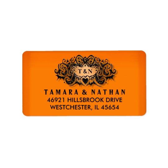 Orange u. schwarzes Hochzeits-Adressen-Etikett Adressaufkleber