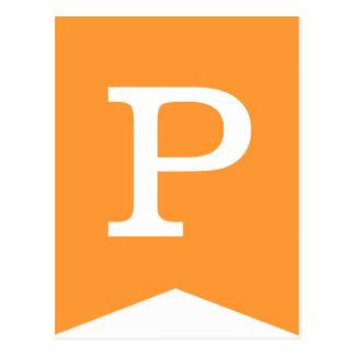 Orange u. weiße Flaggen-Fahne der Postkarte