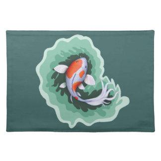 Orange u. weiße Koi Karpfen-Fische Tischset