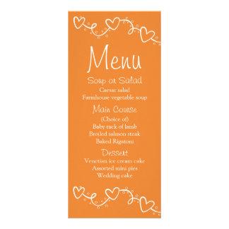Orange u. weißes Menun Herz-Liebe Wedding - Fall Werbekarte