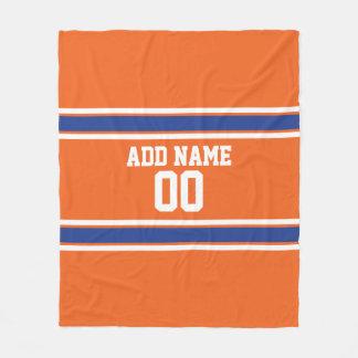 Orange und blauer personalisierter Sport Jersey Fleecedecke