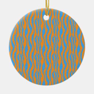 Orange und blauer Zebra-Druck Rundes Keramik Ornament