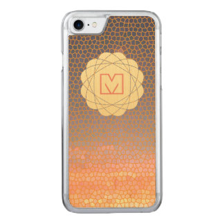 Orange und blaues Pixel-Sonnenuntergang-Monogramm Carved iPhone 8/7 Hülle