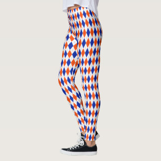 Orange und blaues Preppy Diamant-Rauten-Muster Leggings