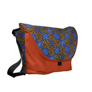 Orange und blaues Sonnenblume-Muster Kuriertasche