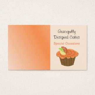 Orange und Brown-Frucht-kleiner Kuchen Visitenkarte
