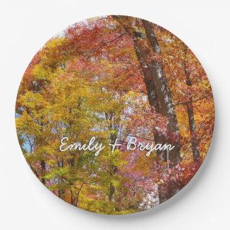 Orange und Gelb-Fall-Baum-Herbst-Fotografie Pappteller