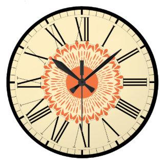 """Orange und gelb, """"Sonnenblume-"""" geometrischer Große Wanduhr"""