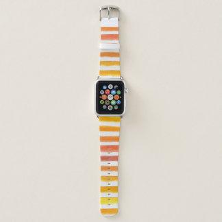 Orange und gelbe Aquarell-Streifen Apple Watch Armband