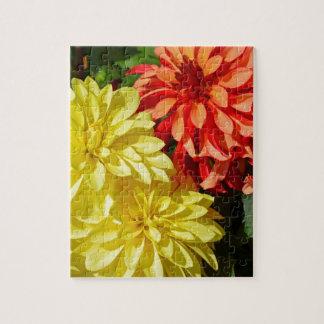 Orange und gelbe Dahlie-Blumen Puzzle