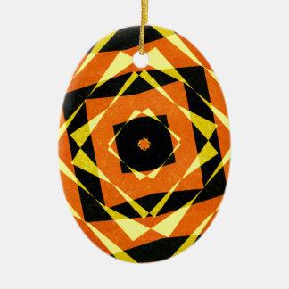 Orange und gelbes gestreiftes Diamantmuster Keramik Ornament