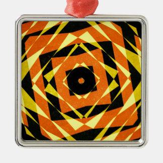 Orange und gelbes gestreiftes Diamantmuster Silbernes Ornament