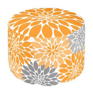 Orange und graue Chrysantheme-Blumenmuster Runder Sitzpuff