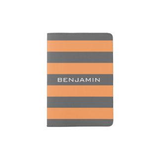 Orange und graue Rugby-Streifen mit individuellem Passhülle