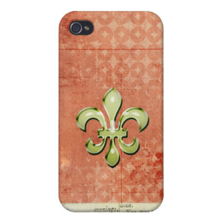 Orange und Green Fleur de Lys iPhone 4 Etuis