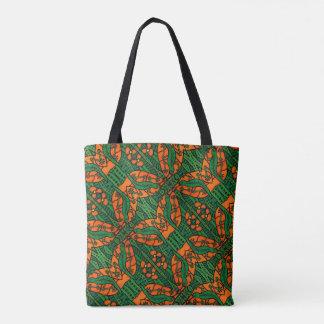 Orange und grüne Eidechsen-Muster Tasche