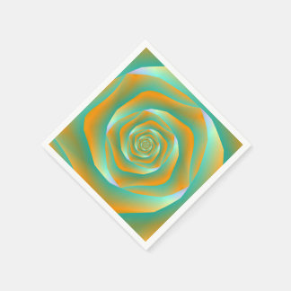 Orange und grüne gewundene Rosen-Serviette Serviette