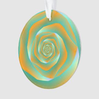 Orange und grüne gewundene Rosen-Verzierung Ornament