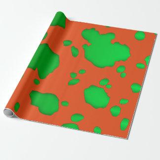 Orange und grüne Kuh-Stellen-Tierdruck Geschenkpapier