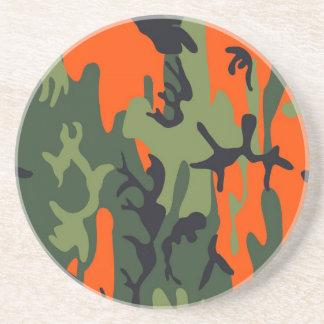 Orange und grünes Militär tarnt Beschaffenheiten Sandstein Untersetzer