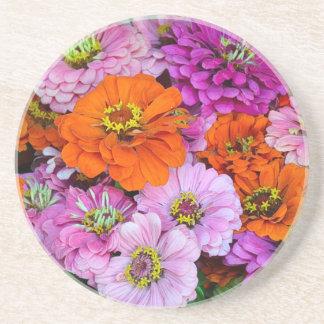 Orange und lila Dahlie-Blumen Sandstein Untersetzer