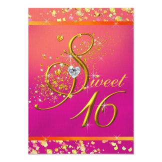 Orange und rosa 16. Geburtstag-Party Personalisierte Ankündigungskarten