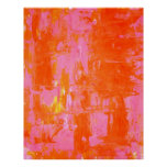 Orange und rosa abstraktes Kunst-Plakat
