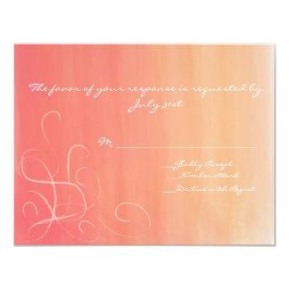Orange und rosa Aquarell-Wartekarten 10,8 X 14 Cm Einladungskarte