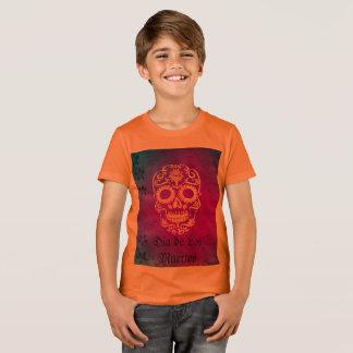 Orange und roter Zuckerschädel/Tag des toten T-Shirt