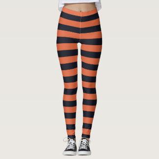 Orange und schwarze gestreifte Gamaschen Leggings