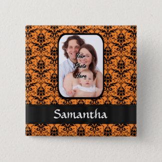 Orange und schwarzer Damast Quadratischer Button 5,1 Cm
