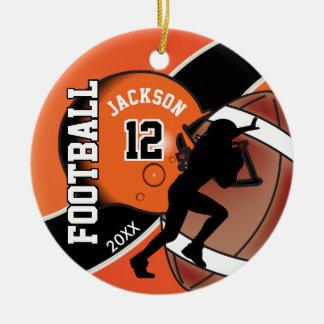 Orange und schwarzer Fußball-Spieler Keramik Ornament