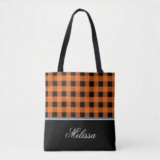 Orange und schwarzer Gingham | personalisiert Tasche