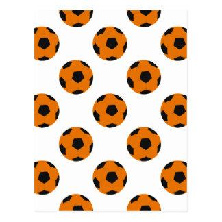 Orange und schwarzes Fußball-Muster Postkarte