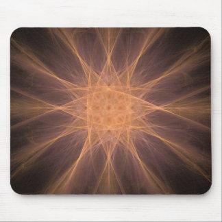 Orange und violette Stern-Fraktal-Kunst-Geschenke Mauspads