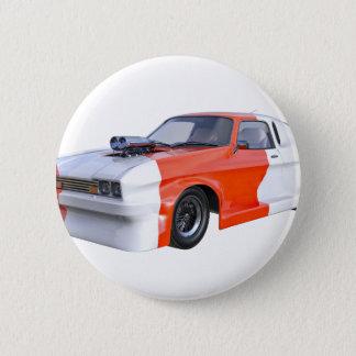 Orange und weißer Rennwagen Runder Button 5,7 Cm