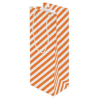 Orange und weißes diagonales Streifen-Muster Geschenktüte Für Weinflaschen