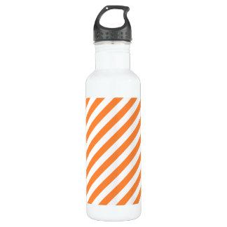 Orange und weißes diagonales Streifen-Muster Trinkflasche