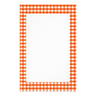 Orange und weißes Gingham-Muster Personalisiertes Büropapier