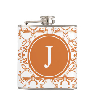 Orange und weißes Motiv mit kundenspezifischem Flachmann
